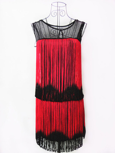 Vestido 2020 de noite do dia das bruxas de 1920's vestido de gatsby vestido de flapper borlas vestido vermelho