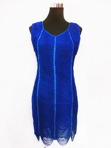 Costume Carnevale Vestiti Anni 20 per donne lycra spandex Vestito Flapper Blu Royal Costumi Retro interpretazione set donna alla moda degli anni '20