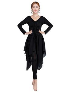 قاعة الرقص اللباس المرأة أسود طويل الأكمام روتشد الخامس الرقبة تدريب الرقص زي