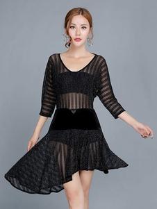 Платья для танцев Латинской танцы Женщины Черное латиноамериканское танцевальное платье