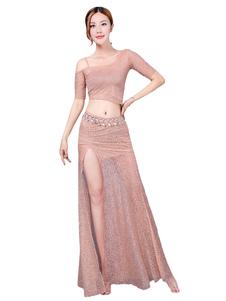 ダンス衣装 ベリーダンス パフォーマンス 大人用 女性用 トップス&ロングスカート 無地 ベリーダンサー