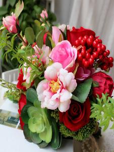 باقة الزفاف عصاري الحرير الأحمر الزهور باقات الزفاف