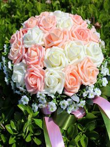 الزهور باقة الزفاف الشمبانيا 2 الألوان الاصطناعية باقات اليد الزفاف
