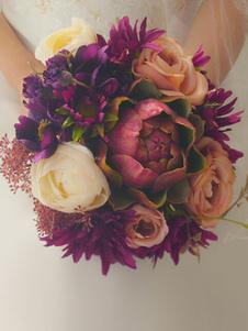 عرس زهرة باقة الزفاف العصاري الأرجواني باقات