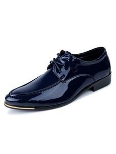 الأزرق اللباس أحذية الرجال أحذية أشار تو الدانتيل يصل عارضة الأعمال الأحذية