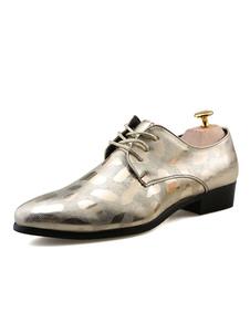Мужская обувь Обувь для золотых ботинок Глянцевая круглая носовая кружевная повседневная обувь для бизнеса