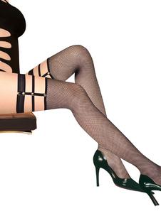 Calze calze affascinanti nylon nere da rave party bottoni in pelle donna Estate