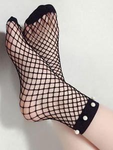 Calcetines negros de mujer Calcetines de red Medias de nylon