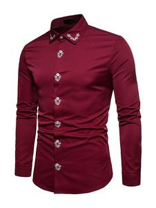 メンズシャツ 長袖 無地 綿混紡 折り襟 カジュアル 刺繍 ストリートウェア カジュアル ロイヤル