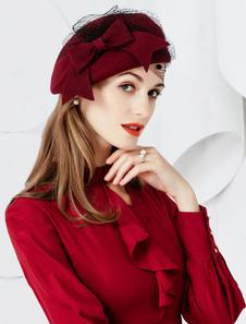 Retro bonés e chapéus feminina de lã de lã chapéu bordeaux
