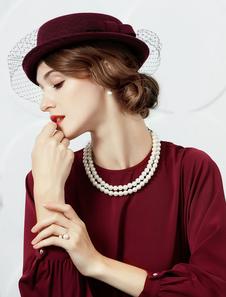 Retro bonés e chapéus feminina de lã de lã chapéu