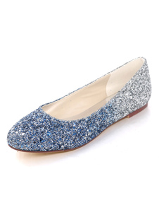 Glitter Ballet Flats azul punta redonda zapatos de boda de las mujeres zapatos de baile