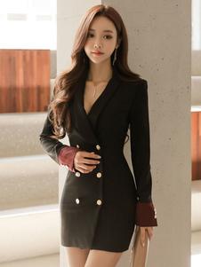 Vestidos Bodycon Gola Xale com botões com mangas compridas de algodão misturado