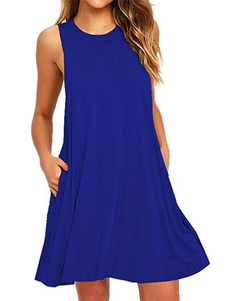 Summer Shift Dress Mujeres sin mangas cuello redondo Royal Blue Mini vestido
