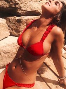 Sexy Bikini traje de baño Red Frills Triangle Swimwear Mujeres Beach traje de baño