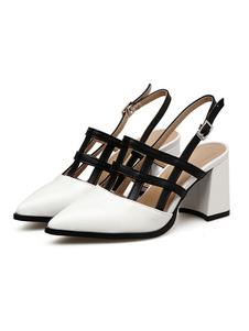 Scarpe con tacco medio decolletè bianche pU donna a punta tacco largo 7cm