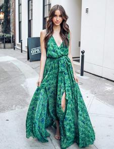 Vestiti Lunghi Verde Abiti Lunghi smanicato in chiffon con foglie Vestiti Lunghi Eleganti spacco frontale Abiti Abbigliamento  Donna