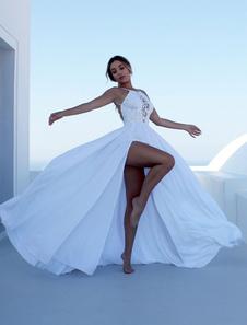 Vestiti Lunghi Bianco  Abiti Lunghi spacco frontale di poliestere monocolore smanicato Vestiti Lunghi Eleganti scollato sulla schiena Abiti bretelle