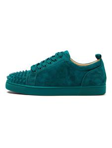 Sapatos de skate de homem 2020 verde escuro com dedos arredondados e rebites