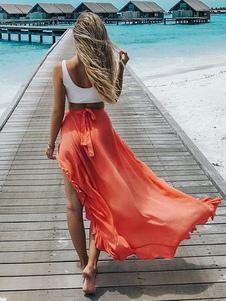 Larga falda de mujer 2020 falda de verano estilo alto y bajo naranja volantes
