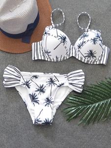 Bikini sexy 2-Pezzi bianco affascinante stampa Di Palma bretelle smanicato di poliestere