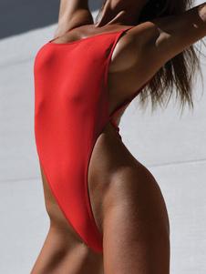 المرأة مثير ملابس السباحة قطعة واحدة ملابس حمراء الأشرطة عارية الذراعين شاطئ ثوب السباحة