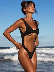 Черный Монокини Купальник U Шея Без рукавов Вырезанные Женщины Обрезанные Женщины Сексуальная Пляжная одежда