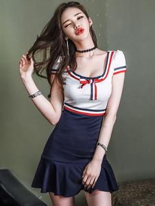 Vestido ajustado sexy U cuello manga corta volantes arcos dos tonos vestido de verano