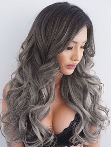 Peluca larga de fibra resistente al calor de color gris pardo estilo modernopara uso al aire libre de pelo rizo