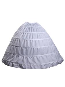 Sottogonna 1 strato 6 cerchi bianca di poliestere al ginocchio sei strati matrimonio