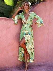 Vestido 2020 longo floral com estampa floral Vestido longo de verão com estampa floral