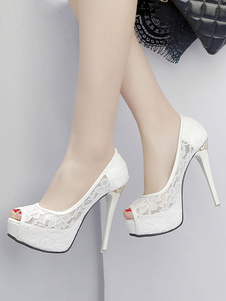 أحذية الزفاف المرأة الكعوب العالية مضخات زقزقة اصبع القدم البيضاء الدانتيل منهاج الخنجر منهاج