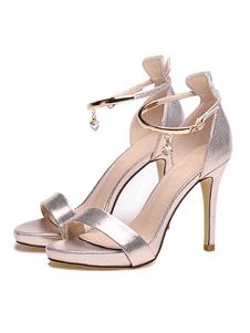 المرأة الذهب الصنادل عالية الكعب المفتوحة تو حزام الكاحل صندل أحذية ملابس والاحذية