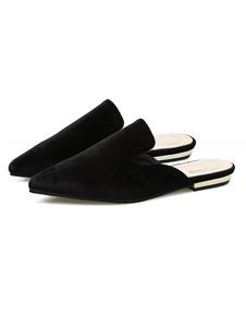 Negro zapatos de mulas 2018 de las mujeres alrededor del dedo del pie Metal detalle deslizamiento sin respaldo en mocasines de mula ez3OmLR6oh