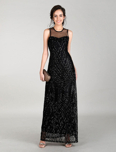 Vestido comprido 2020 2020 sem fitas elegante & luxurioso preto vestido maxi para festa formal gola redonda sem mangas