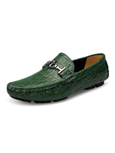 Mens Green Loafers Shoes Round Toe Leather Driving Shoes