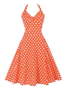 Летнее платье-миди Розовое винтажное платье в горошек Холтер на шнуровке Милое платье-качели
