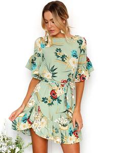 المرأة الصيف اللباس نصف كم فستان الشيفون الكشكشة المطبوعة البسيطة