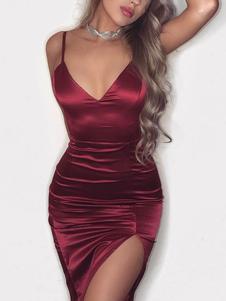 Sexy Club Dress Straps Split Sleeveless Burgundy Bodycon Dress
