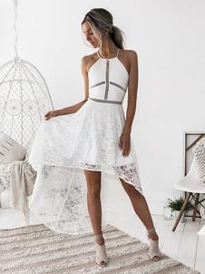 Vestido lace com alças finas sem mangas elegante de renda Verão para street wear