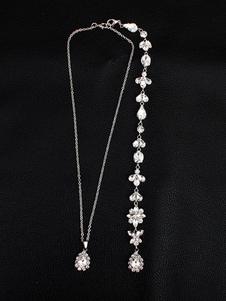 Colar Pinça de Lagosta 2020 Strass Liga Colar prata Prateada elegante Strass 60.96-71.12 cm clássico & tradicional