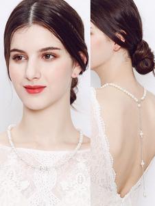Perlas de la boda collar de fondo cadena con cuentas Ecru blanco joyería nupcial