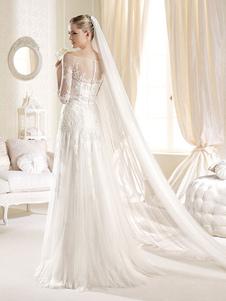 Véu de noiva 2020 Catedral Véu de noiva com 3 camadas de borda de tule branco