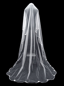 عرس الحجاب الأبيض تول مطرز من الطبقة الأولى الحجاب الزفاف الطويل