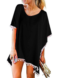 Beach Cover Up Black Plus Size Pom Poms Купальный костюм для женщин