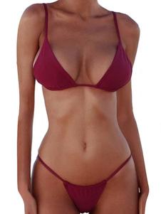 Bikini Bordeaux bretelle Costumi da Bagno Costumi vita alta Vita bassa Abbigliamento  Donna monocolore sexy di poliestere