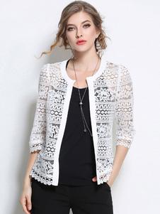 Jaqueta de mulher para mulher gola redonda com mangas de 3/4 chique e moderna de renda Normal