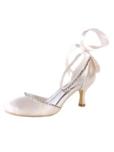 Zapatos de puntera puntiaguada de tacón de stiletto de seda sintética con perlaselegantes Fiesta de bodas 1M2Mh