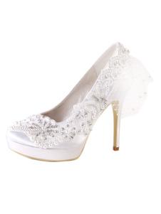 Zapatos de tacón de cuña de puntera puntiaguada de satén blancos elegantes para boda t2qtYxxn