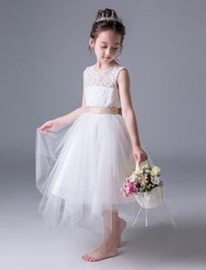 Vestidos De Niña De Flores Encaje Tul Espalda Abierta Con Faja Sin Mangas Vestido De Princesa Longitud Del Té Vestidos De Fiesta Para Niños